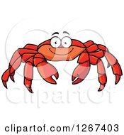 Clipart Of A Happy Red Crab Character Royalty Free Vector Illustration