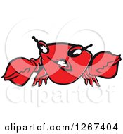 Clipart Of A Mad Red Crab Character Royalty Free Vector Illustration