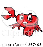 Clipart Of A Happy Presenting Red Crab Character Royalty Free Vector Illustration