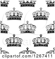 Clipart Of A Seamless Background Pattern Of Black And White Ornate Crowns Royalty Free Vector Illustration by Seamartini Graphics