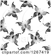 Seamless Black And White Butterfly Background Pattern 9