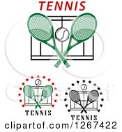 Clipart Of Tennis Ball Crossed Rackets And Court Designs Royalty Free Vector Illustration