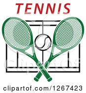 Clipart Of A Ball And Crossed Green Tennis Rackets Over A Court With Red Text Royalty Free Vector Illustration