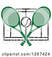 Clipart Of A Ball And Crossed Green Tennis Rackets Over A Court Royalty Free Vector Illustration