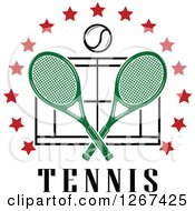 Clipart Of A Ball And Crossed Green Tennis Rackets Over A Court With Red Stars And Text Royalty Free Vector Illustration