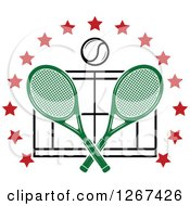 Clipart Of A Ball Over Crossed Green Tennis Rackets And A Court In A Ring Of Red Stars Royalty Free Vector Illustration