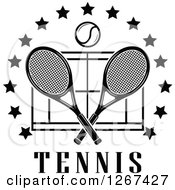 Clipart Of A Black And White Ball Over Crossed Tennis Rackets And A Court In A Ring Of Stars With Text Royalty Free Vector Illustration