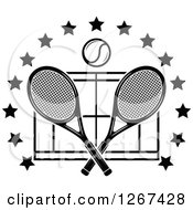 Clipart Of A Black And White Ball Over Crossed Tennis Rackets And A Court In A Ring Of Stars Royalty Free Vector Illustration