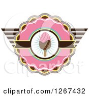 Pink Yellow And Brown Ice Cream Popsicle Badge