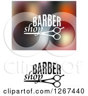 Clipart Of Barber Shop Designs With Scissors Royalty Free Vector Illustration