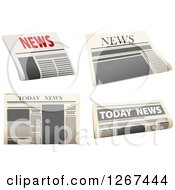 Clipart Of Newspaper Designs Royalty Free Vector Illustration