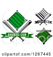 Clipart Of Baseball Diamond Field And Bat Designs Royalty Free Vector Illustration