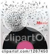 Clipart Of A Vinyl Record Decomposing Into Notes With Music Text Royalty Free Vector Illustration