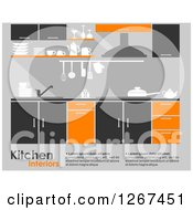Clipart Of A Gray Orange And Black Kitchen Interior With Sample Text Royalty Free Vector Illustration