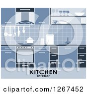 Clipart Of A Blue Kitchen Interior With Text Royalty Free Vector Illustration
