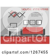 Clipart Of A Red And Gray Living Room Interior With Sample Text Royalty Free Vector Illustration by Vector Tradition SM