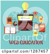 Clipart Of Web Education Text Under A Laptop And Accessories On Blue Royalty Free Vector Illustration by Vector Tradition SM