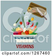 Clipart Of A Knife And Cutting Board Dropping Chopped Veggies Into A Bowl Over Vitamins Text On Gray Royalty Free Vector Illustration by Vector Tradition SM
