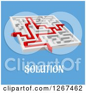 Clipart Of A Labyrinth Puzzle With A Red Arrow Over Solution Text On Blue Royalty Free Vector Illustration by Vector Tradition SM