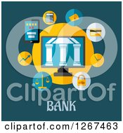 Clipart Of A Central Bank Building In A Circle Of Icons Over Text On Teal Royalty Free Vector Illustration
