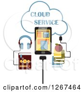 Clipart Of A Cloud Service Design With An MP3 Music Player Tablet Computer And Books Royalty Free Vector Illustration