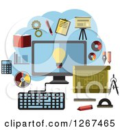 Clipart Of A Online Business Ideas Around A Desktop Computer Royalty Free Vector Illustration