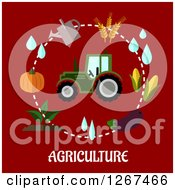 Clipart Of A Tractor In A Circle Of Farming Items Over Agriculture Text On Red Royalty Free Vector Illustration