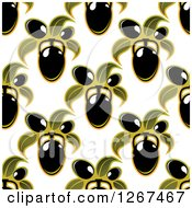 Clipart Of A Seamless Background Pattern Of Black Olives And Green Leaves Royalty Free Vector Illustration