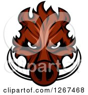 Clipart Of A Brown Vicious Boar Mascot Head Royalty Free Vector Illustration