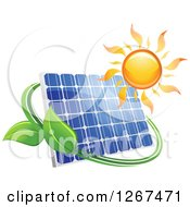 Clipart Of A Sun Over A Solar Panel Encircled With A Green Vine Royalty Free Vector Illustration