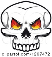 Poster, Art Print Of Black And White Human Skull With Flames In The Eye Sockets