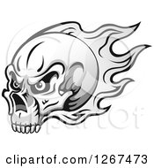Clipart Of A Grayscale Human Skull With Flames Royalty Free Vector Illustration