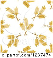 Clipart Of A Seamless Pattern Background Of Wheat On White Royalty Free Vector Illustration