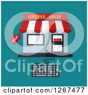 Clipart Of An Online Shop Connected To A Computer Keyboard Over Teal Royalty Free Vector Illustration by Vector Tradition SM