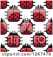 Clipart Of A Seamless Pattern Background Of Square Ladybugs Royalty Free Vector Illustration by Vector Tradition SM