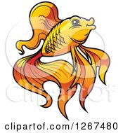 Clipart Of A Cartoon Fancy Goldfish In Profile Royalty Free Vector Illustration
