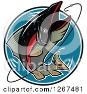 Clipart Of A Jumping Trout Fish And Hook Over A Blue Circle Royalty Free Vector Illustration by Vector Tradition SM
