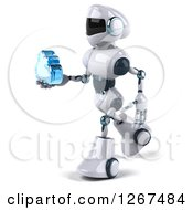 Clipart Of A 3d White And Blue Robot Walking And Holding A Cloud Royalty Free Illustration