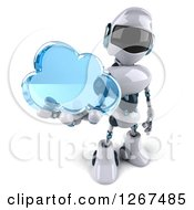 Clipart Of A 3d White And Blue Robot Holding Up A Cloud Royalty Free Illustration
