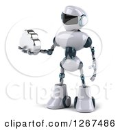Clipart Of A 3d White And Blue Robot Holding A Silver Cloud Royalty Free Illustration