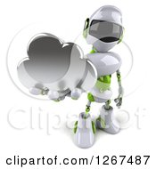 Clipart Of A 3d White And Green Robot Holding Up A Cloud Royalty Free Illustration