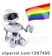 Clipart Of A 3d White And Blue Robot Holding Up A Rainbow LGBT Flag Royalty Free Illustration