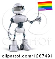 Clipart Of A 3d White And Blue Robot Standing With A Rainbow LGBT Flag Royalty Free Illustration