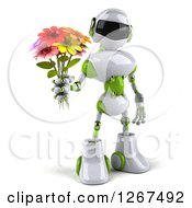 3d White And Green Robot Holding A Flower Bouquet