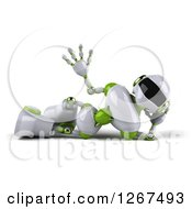 Clipart Of A 3d White And Green Robot Resting On His Side And Waving Royalty Free Illustration