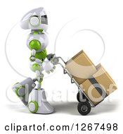 Clipart Of A 3d White And Green Robot Moving Boxes On A Dolly Royalty Free Illustration by Julos