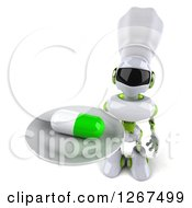 Clipart Of A 3d White And Green Robot Holding Up A Pill On A Platter Royalty Free Illustration