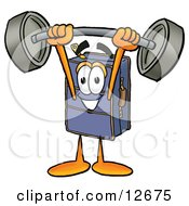 Clipart Picture Of A Suitcase Cartoon Character Holding A Heavy Barbell Above His Head