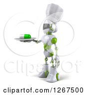 Clipart Of A 3d White And Green Robot Serving A Pill On A Platter Royalty Free Illustration