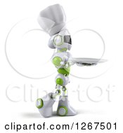Clipart Of A 3d White And Green Robot Walking With A Plate Royalty Free Illustration